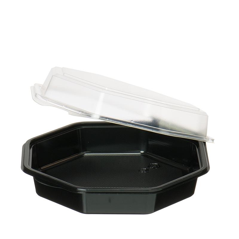 8-eckiger Behälter (schwarz / transparent)