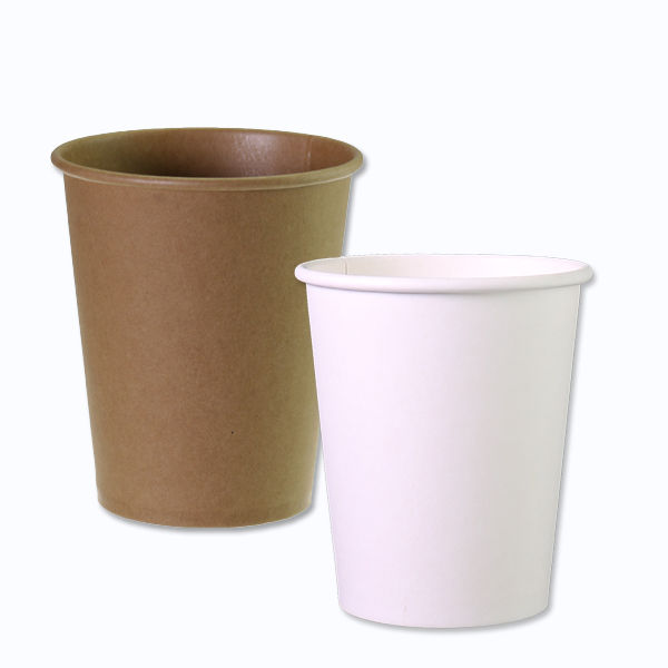 Plain white and brown paper cups