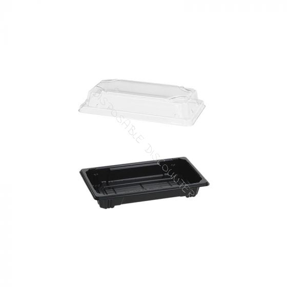 Sushi Tray PS + Lid OPS 140x80mm Black