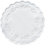 Coasters tissue Ø 9 cm - 8 ply romantic white