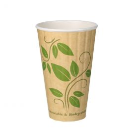 BIO Coffee Paper Cups double wall 16oz 470ml Leaf