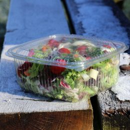 Salad container with hinged lid 1000ml - square