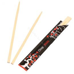 Chopsticks 21cm in a black paper sleeve