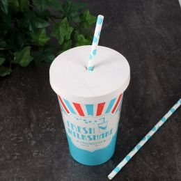 Cardboard Lid for Milkshake Cups Ø 90mm with X-slot White