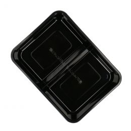 Microwave container 750cc 2 compartments 182 series wide black