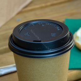 Travel lid for Paper Cups Coffee To Go 300cc - 350cc and 450cc Black