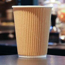 Paper Cups Coffee To Go double wall 12oz 350ml brown