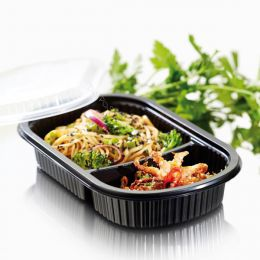 Dinner tray ToGo 3 compartments 240x150x40mm black