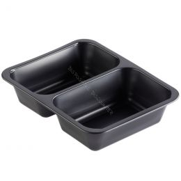 Meal tray 2 compartments 227x178x50mm black