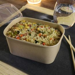 Bamboo Cardboard Microwave Container 1000ml