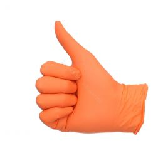 Gants en nitrile non poudrés oranges M