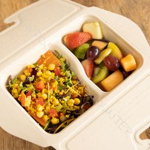Bio Boîte alimentaire avec couvercle fixé en canne à sucre Bepulp 800ml 2 compartiments Brun