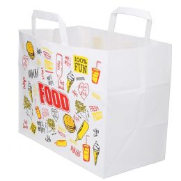Carrier bags snack bag block bottom 32+18x26cm Fast Food
