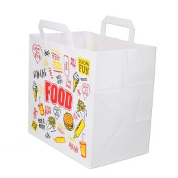Carrier bags snack bag block bottom 26+17x26cm Fast Food