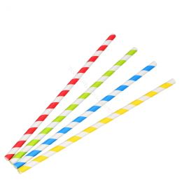 BIO Cardboard straws 6mm x 200mm Stripes