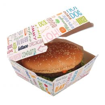 Barquette à hamburger en carton modèle moyen 14x14x8cm Parole
