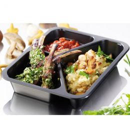 Meal tray 3 compartments 227x178x32mm black
