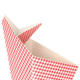 Cardboard Cone bags Vichy Red with sauce compartment
