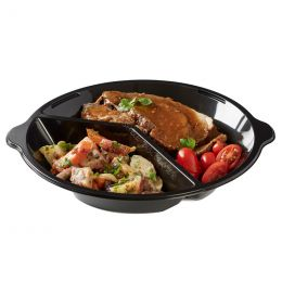 Take Away plates 250mm round black 2 compartments with handle