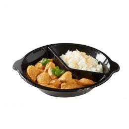 Take Away plates 220mm round black 2 compartments with handle