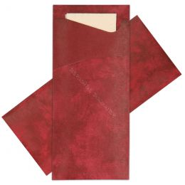 Cutlery bags Burgundy red with Champagne napkin