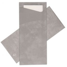 Cutlery bags Grey with White napkin