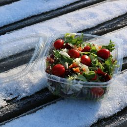 Salad container with hinged lid 500ml - square