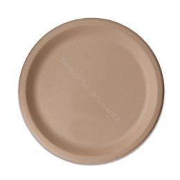Assiette BIO canne à sucre 1 compartiment ronde 23cm marron naturel