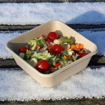 BIO salad bowl sugarcane bagasse 900ml square brown