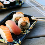Sushi Tray Flowers + lid 255x187x23mm