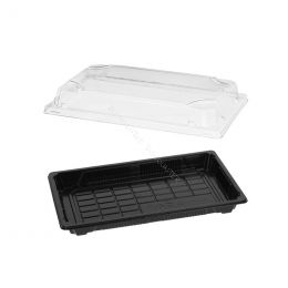 Sushi Tray PS + Lid OPS 216x135mm Black