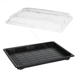 Sushi Tray PS + Lid OPS 259x186mm Black