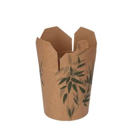 Wok to go flip top noodle box 16oz 480ml green leaves