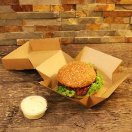 Hamburger-Kartons Smart Fold Nature Kraft