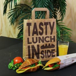 Papiertragetaschen 22+10x28cm Tasty Lunch Bag