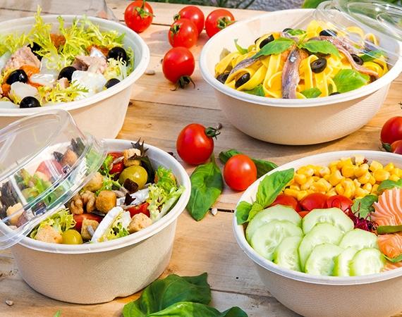 100% compostable sugar cane salad bowls!