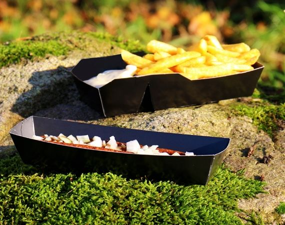 New: Black BIO Cardboard snack trays!